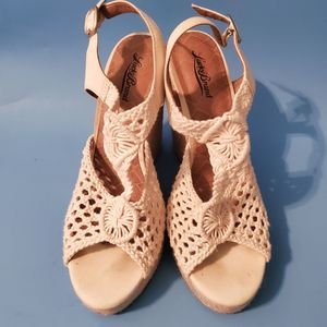 Lucky Brand Crochet Espadrilles Wedge Platforms